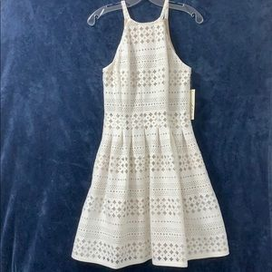 Eliza J Sleeveless Lace Overlay White Dress